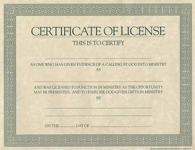 Certificate license for minister cokesbury for Minister license certificate template