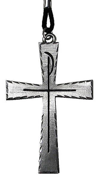 "Clergy Cross 3 1/2"" Chi Rho Engraved Pewter 36"" Cord, Boxed"