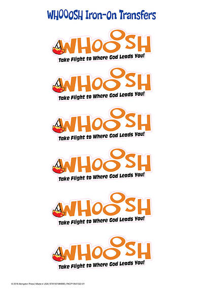Vacation Bible School (VBS) 2019 WHOOOSH Iron-On Transfers (Pkg of 12)