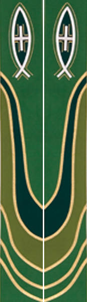 Ascension Series Green Stole with Fish with Cross in Center