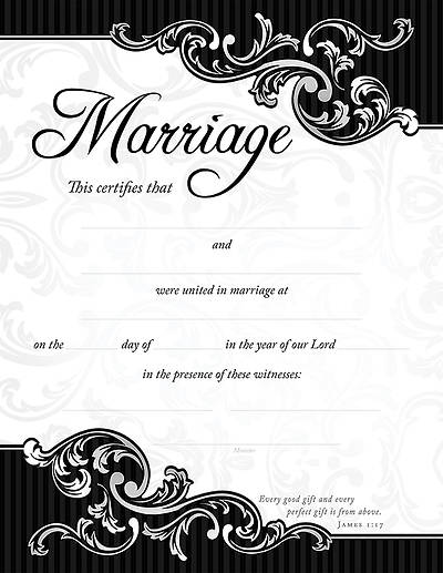 Marriage Certificate, Pack of 6