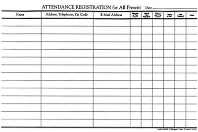 Attendance Registration Pad--Regular Size