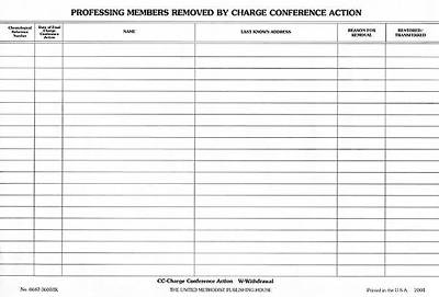 Professing Members Removed by Charge Conference Action (Pkg of 50)
