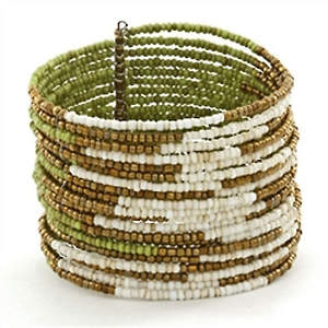 Java Abstract Bead Cuff Bracelet - Lime Adjustable