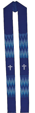 Fair Trade Simple Cross and Zig Zag Minister Stole Blue - 92