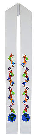 Fair Trade Children of the World Holding Hands Stole White - 110