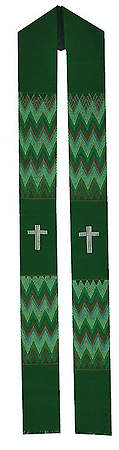 Fair Trade Simple Cross and Zig Zag Minister Stole Green - 92