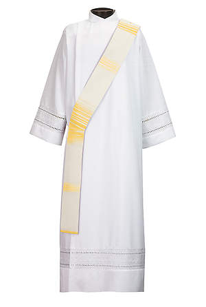 Simple Deacon Stole Ivory/Gold - 110