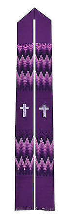 Fair Trade Simple Cross and Zig Zag Minister Stole Purple - 92
