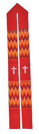 Fair Trade Simple Cross and Zig Zag Minister Stole Red - 92