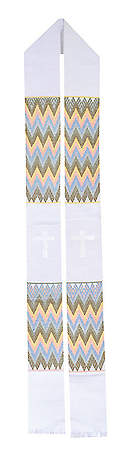 Fair Trade Simple Cross and Zig Zag Minister Stole White - 92