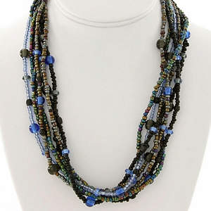 Java Beaded Necklace - Black  Gunmetal and Blue