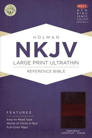 NKJV Large Print Ultrathin Reference Bible, Saddle Brown Leathertouch Indexed
