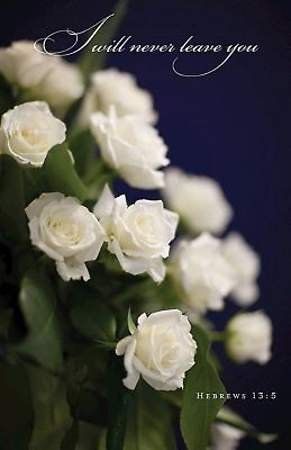 White Roses Funeral Bulletin, Regular Size (Package of 50)