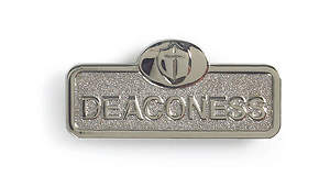 Silvertone Magnetic Deaconess Badge with Cross