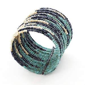 Java Abstract Bead Cuff Bracelet - Platinum Adjustable