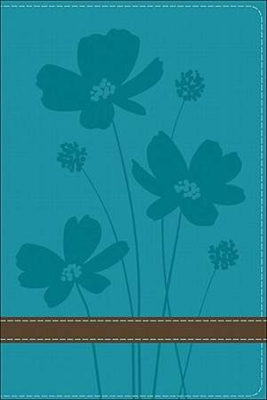 GW Compact Bible Turquoise/Brown, Flower Design Duravella