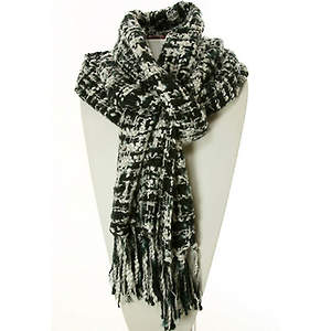 Thai Cozy Scarf - Black/White