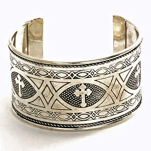 India Christian Cuff Bracelet - Silver-tone Adjustable