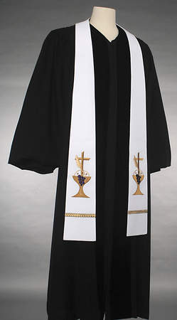 Communion White Chalice/Cross Stole