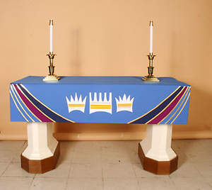Ascension Series Blue Altar Frontal with 3 Crowns in White & Gold