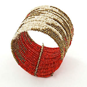 Java Abstract Bead Cuff Bracelet - Red Adjustable