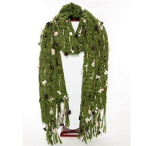 Thai Cozy Scarf - Olive with Brown and Cream Accents