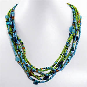 Java Beaded Necklace - 6-strand  Turquoise and Lime