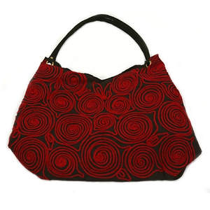 Vietnam Embroidered Purse - Swirls Red