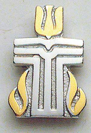 Lapel Pin Presbyterian Seal Two Tone Silver and Gold