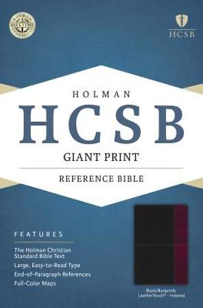 HCSB Giant Print Reference Bible, Black/Burgundy Leathertouch Indexed