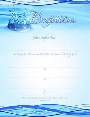 Certificate of Baptism Ephesians 4:5-6 (Package of 6)