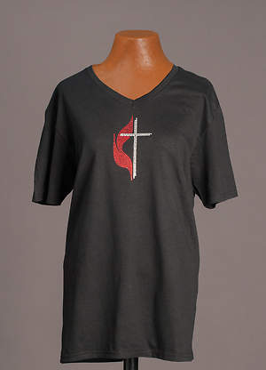 Black V-Neck Cross and Flame Bling T-Shirt