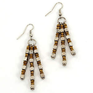 Java Dangle Bead Earrings - Bronze