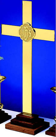 "Chapel Line Solid Brass 24"" Cross with IHS"