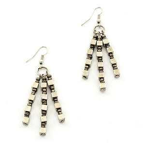 Java Dangle Bead Earrings - Platinum