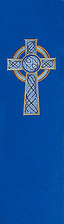 Celtic Cross Stole Blue Cathedral Fabric 110