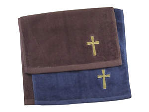 Burgundy with Gold Cross Pastor Hand Towel