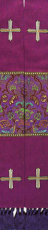 Stole Purple Jerusalem Cross and Coronation Tapestry Canterbury Fabric