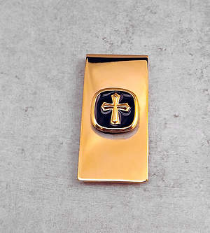 Men's Gold Cross Money Clip