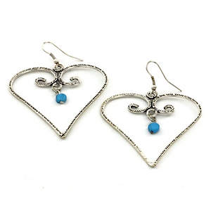 India Heart Earrings - Turquoise Dangle Silver-tone