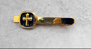 Men's Gold Cross Tie Bar