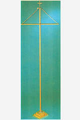 Solid Brass Banner Stand with 3-step Square Base and Cross