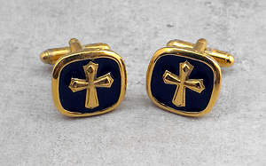 Men's Gold Cross Cuff Links