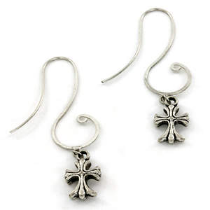 India Christian Earrings - Cross Dangle Silver-tone