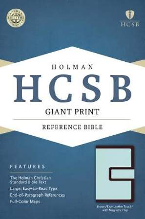HCSB Giant Print Reference Bible, Brown/Blue Leathertouch with Magnetic Flap