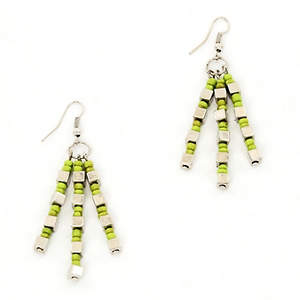 Java Dangle Bead Earrings - Lime