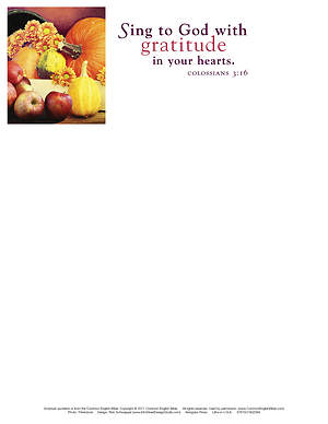 Sing to God Thanksgiving Letterhead 2015 (Package of 50)