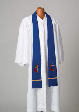 Blue United Methodist Liberty With Gold Braid Stole
