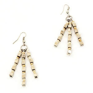 Java Dangle Bead Earrings - Cream